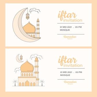 Ramadan kareem iftar zaproszenie do projektowania linii sztuki szablonu, meczet, księżyc, latarnia