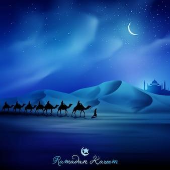 Ramadan kareem ilustracja pozdrowienia tła