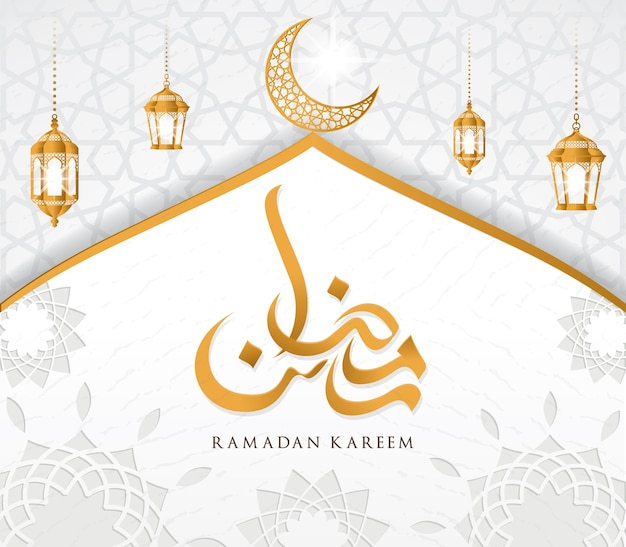 Ramadan kareem islamska konstrukcja kopuły meczetu i półksiężyca