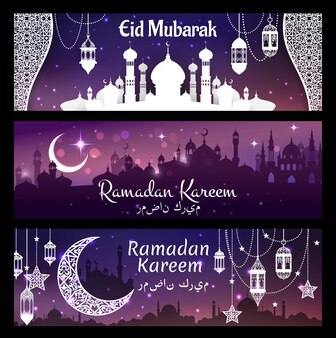 Ramadan kareem islamska religia eid mubarak banner