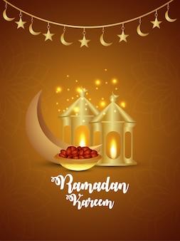 Ramadan kareem islamski festiwal z kreatywną złotą latarnią i złotym księżycem na kreatywnym tle