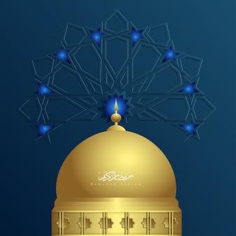 Ramadan kareem islamski ornament z meczetem