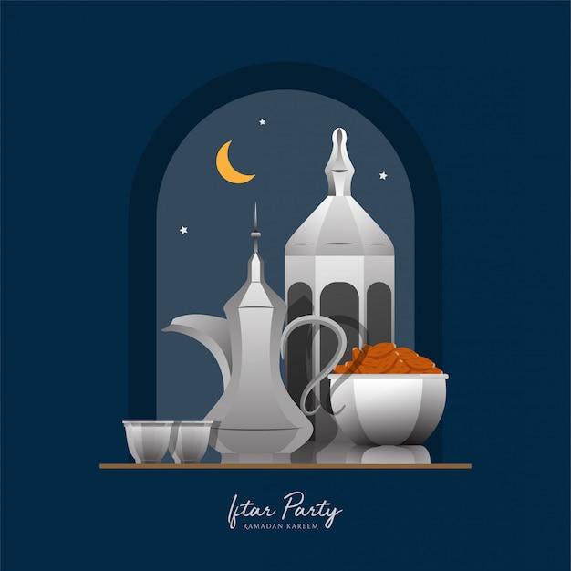 Ramadan kareem islamski płaski ilustracja wektor