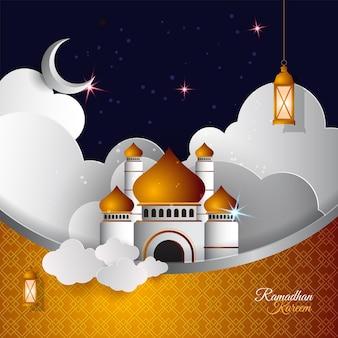 Ramadan kareem islamski w stylu papieru