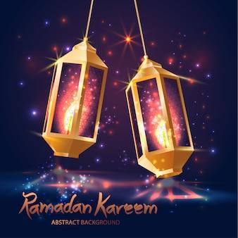 Ramadan kareem. islamskie tło. lampy do ramadanu.