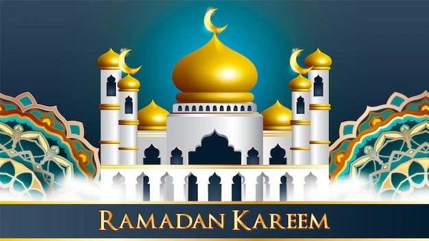 Ramadan kareem islamskie tło z wielką kopułą meczetu