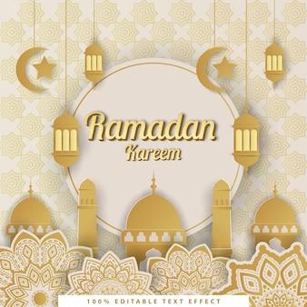 Ramadan kareem islamskie tło ze złotym białym stylem cięcia papieru