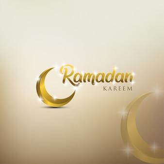 Ramadan kareem kartkę z życzeniami ze złotym ozdobnym półksiężycem