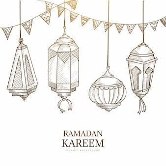 Ramadan kareem kartka okolicznościowa z wiszącymi lampami