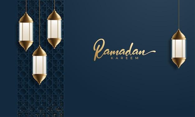 Ramadan kareem kartkę z życzeniami świecącą złotą arabską lampą