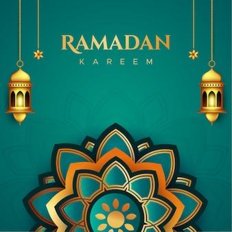 Ramadan kareem kartkę z życzeniami w stylu papieru