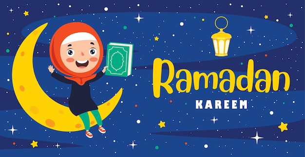 Ramadan kareem kartkę z życzeniami z dzieckiem siedzącym na półksiężycu