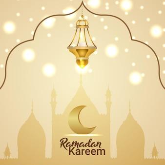 Ramadan kareem kartkę z życzeniami z kreatywną latarnią wektorową