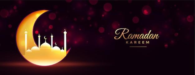 Ramadan kareem księżyc i meczet błyszczący złoty sztandar