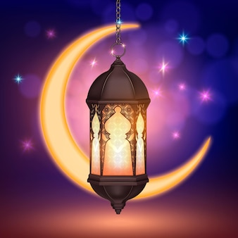 Ramadan kareem lantern moon realistyczna kompozycja z kolorowymi rozmytymi gwiazdami i półksiężycem