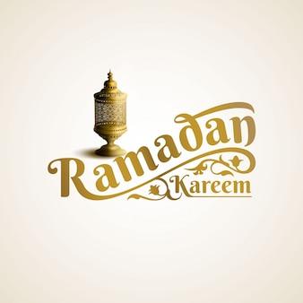 Ramadan kareem literowanie z ornamentem i latarniową ilustracją