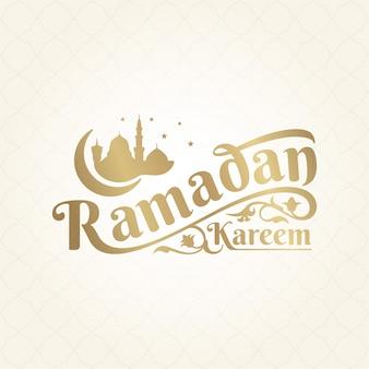 Ramadan kareem literowanie z ornamentem i sylwetka meczetu ilustracją