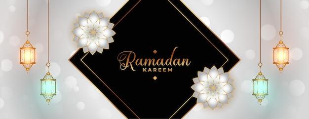 Ramadan kareem lub eid mubarak festiwal dekoracyjny transparent