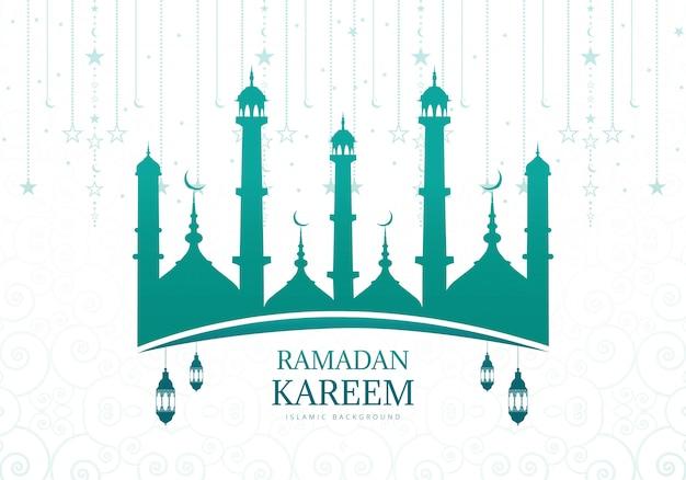Ramadan kareem lub eid mubarak z życzeniami tło