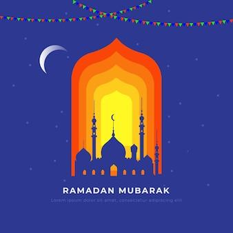 Ramadan kareem lub ramzan mubarak flat ilustracja