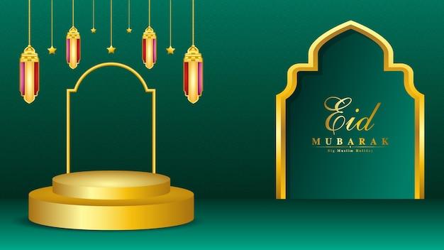 Ramadan kareem luksusowe tło z 3d realistyczną lampą