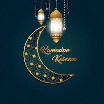 Ramadan kareem luksusowy ekskluzywny księżyc latarnia tło projektu