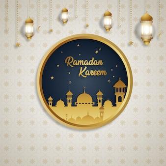 Ramadan kareem luksusowy ekskluzywny okrąg księżyc latarnia tło projektu