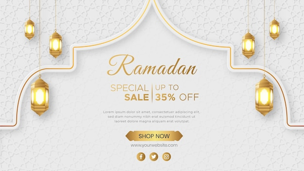 Ramadan kareem luxury sale banner islamska ozdoba