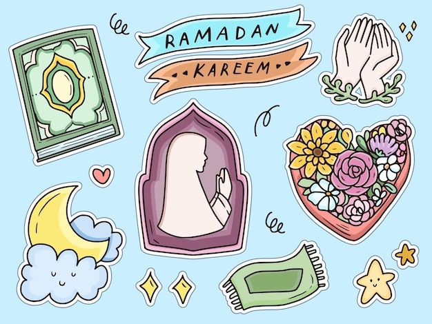 Ramadan kareem modlący się zestaw doodle naklejki