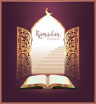 Ramadan kareem napis tekst i otwarta książka, drzwi