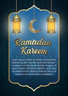 Ramadan kareem ozdobiony złotymi zdobieniami