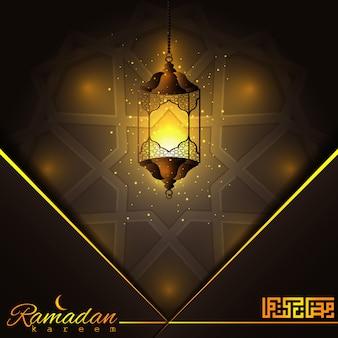 Ramadan kareem piękna rozjarzona arabska latarnia
