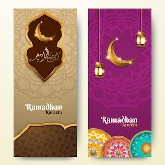 Ramadan kareem pionowe banery z 3d latarnie arabesqus