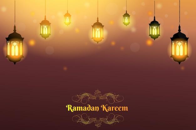 Ramadan kareem płaski kolor tła brązowy i pomarańczowy