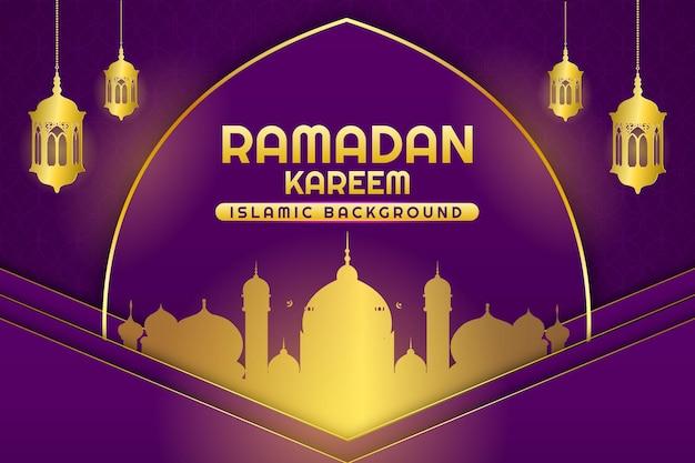 Ramadan kareem płaski kolor tła fioletowy i złoty