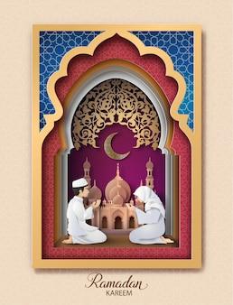 Ramadan kareem powitanie karta, papierowa sztuka