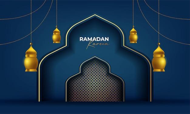 Ramadan kareem powitanie karta tło