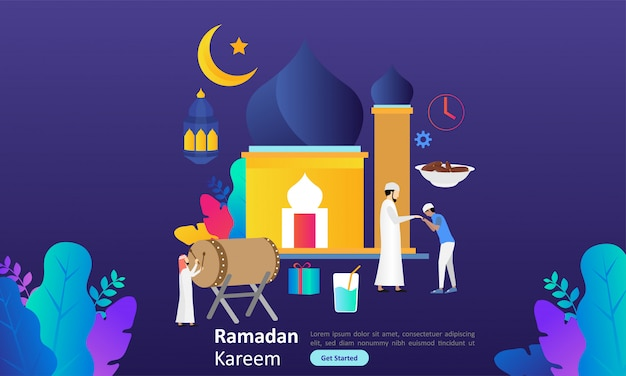 Ramadan kareem pozdrowienia płaska konstrukcja z charakterem ludzi