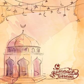 Ramadan kareem pozdrowienia tło islamskie