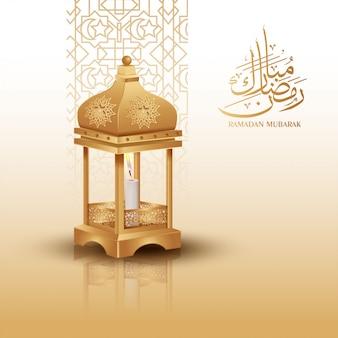 Ramadan kareem pozdrowienia tło z złotą latarnią
