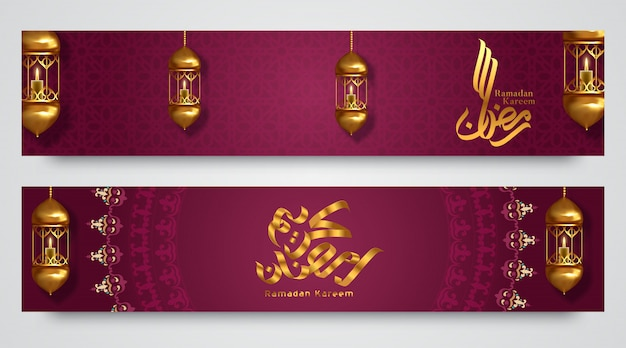 Ramadan kareem poziome bannery, ilustracja do karty z pozdrowieniami, plakatu i kuponu