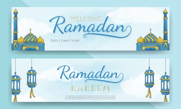 Ramadan kareem poziomy nagłówek z ręcznie rysowane islamskiego ornamentu