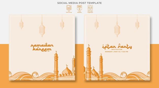 Ramadan kareem projekt postu w mediach społecznościowych z ręcznie rysowaną ilustracją islamskiego ornamentu