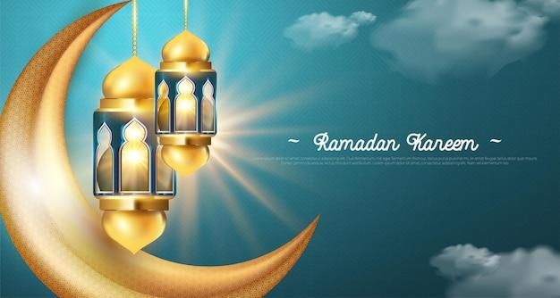 Ramadan kareem realistyczny ze złotymi latarniami i błyszczącym sierpem księżyca.