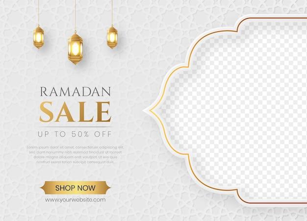 Ramadan kareem sale banner z pustym miejscem na zdjęcie