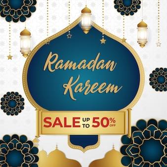 Ramadan kareem super wyprzedaż rabat szablon kwadratowy banner