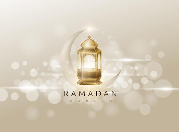 Ramadan kareem świecąca złota arabska karta lampy