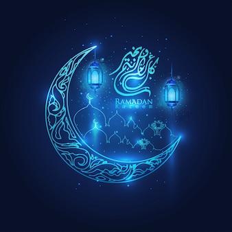 Ramadan kareem świecące arabskie lampiony, księżyc i gwiazdy islamskiego półksiężyca