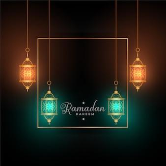 Ramadan kareem świecące tło lampy z miejsca na tekst