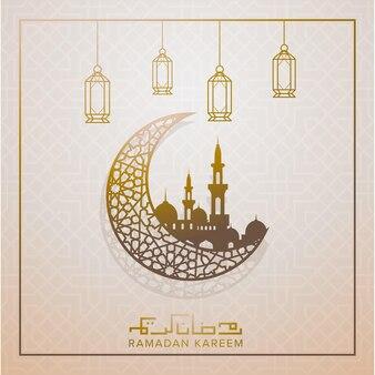 Ramadan kareem szablon karty z pozdrowieniami z półksiężycem